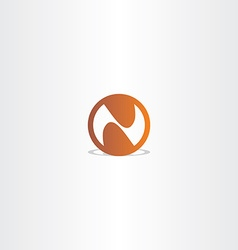 letter n brown circle icon vector image