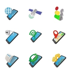 Mobile phone icons set cartoon style vector