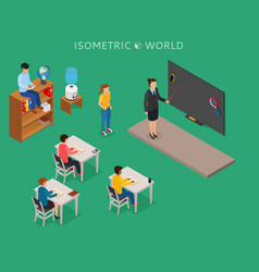 school education isometric design concept with vector image