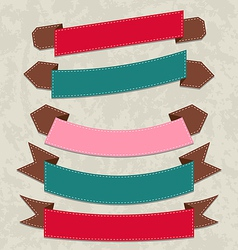 Set colorful ribbons various forms vector image