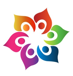 Teamwork people united logo vector image vector image