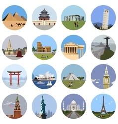 World landmarks flat icon set vector image