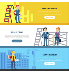 construction team horizontal banners vector image vector image