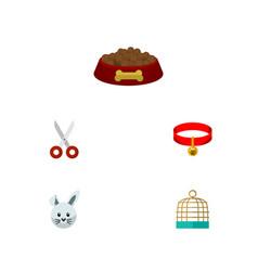 flat icon pets set of dog food shears bird vector image