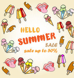hello summer sale poster with ice cream vector image vector image