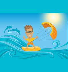 kitesurfer on summer ocean vector image