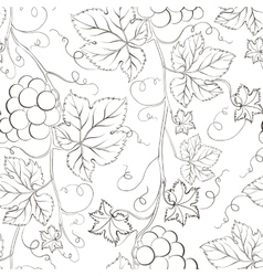 Seamless grape pattern black and white vector image