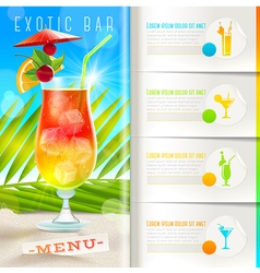 Tropical beach bar menu vector image vector image