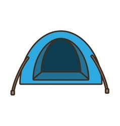 blue dome tent hiking forest camping vector image