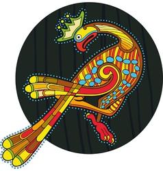 Motley Ornamental Bird Circle vector image