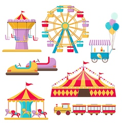 Set of amusement park elements vector image vector image