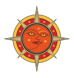 Sun and moon isolated on white background vector