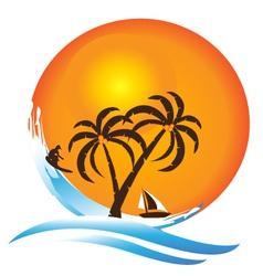 Tropical island paradise logo vector