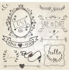 Vintage Wedding graphic set vector image vector image