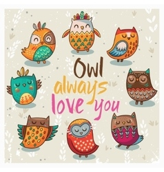 with cute owls vector image vector image