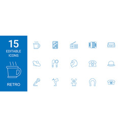 15 retro icons vector