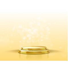 3d golden podium with spotlight and bokeh vector