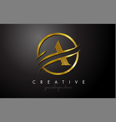 a golden letter logo design with circle swoosh vector image