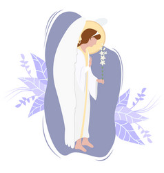 Archangel gabriel on a cloud with a white lily vector