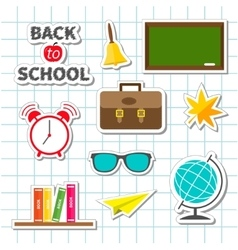 Back to school icon set Sticker collection Green vector image