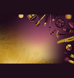 Banner with decorative cosmetics with place for vector