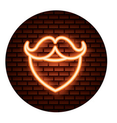 beard mustache hipster light neon vector image