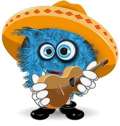 Blue Monster in Sombrero vector image