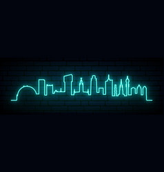 blue neon skyline stockholm city bright vector image