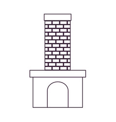 brick fireplace silhouette on white background vector image