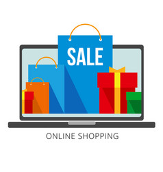 bright shopping bags and boxes on laptop screen vector image