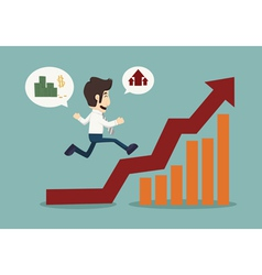 Business man runing top of graph vector