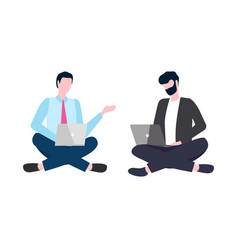 business people man working on laptop partner vector image