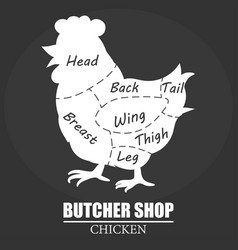 butcher shop label chicken cuts silhouette eco vector image