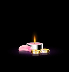 candle with petal and ring vector image vector image