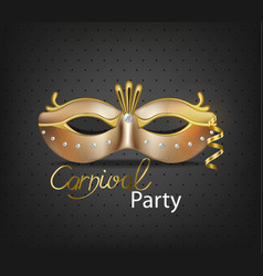 Carnival luxury golden mask realistic vector