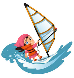 cartoon little girl sailing in ocean wearing vector image