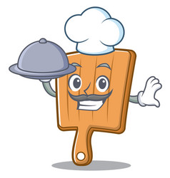 chef with food kitchen board character cartoon vector image vector image