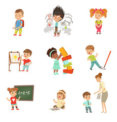 childrens failures and mistakes set frustrated vector image
