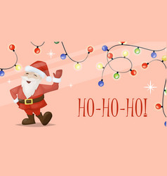 christmas card santa xmas greeting decoration vector image