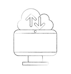 cloud computing with computer vector image
