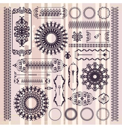collection of beautiful ornamental vintage vector image