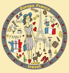 Color travel 7 to europe france symbols and vector