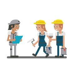 Constuction workers geometric cartoons vector
