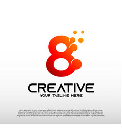 Creative logo with initial number eight 8 vector