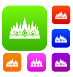 crown set color collection vector image