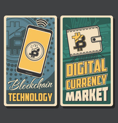 Cryptocurrency bitcoin digital currency market vector
