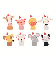 Cute animals christmas set vector