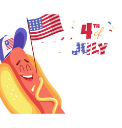 Cute cartoon hot dog with usa flag happy vector