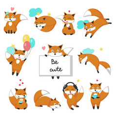 Cute fox icon set isolated vector