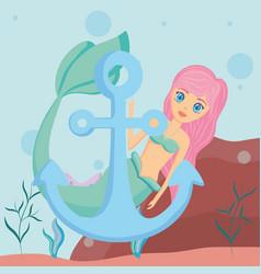 Cute mermaid icon vector